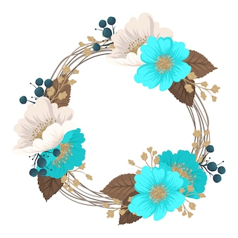 Guirnalda de flores dibujo marco de círculo con flores