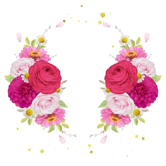 Guirnalda de flores de flores de color rosa oscuro