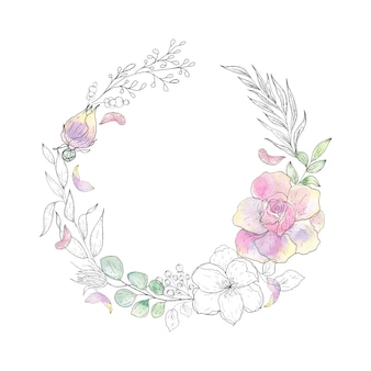 Guirnalda de flores y hojas