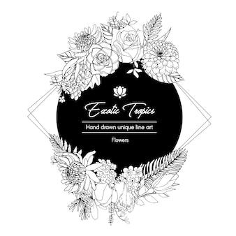 Guirnalda de flores con ilustración tropical de arte lineal marco romántico