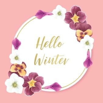 Guirnalda de flores de invierno con orquídeas, alcatraces, anémona
