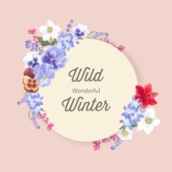 Guirnalda de flores de invierno con orquídeas, lavanda, anémona
