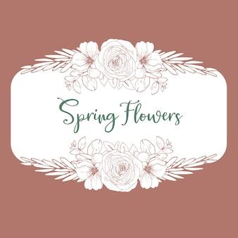 Guirnalda de flores de línea y hojas de estilo de dibujo