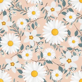 Guirnalda de flores de margarita blanca estilo hiedra con rama y hojas, patrones sin fisuras