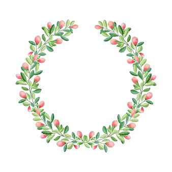 Guirnalda de flores de navidad acuarela