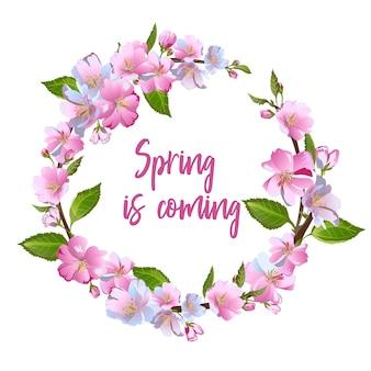 Guirnalda de flores de primavera - cartel, invitación o banner