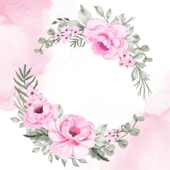 Guirnalda de flores rosa ilustración acuarela