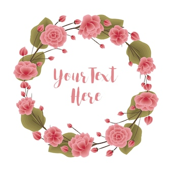 Guirnalda de flores rosa y verde