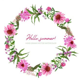 Guirnalda de flores rosadas de campo con equinácea y trébol