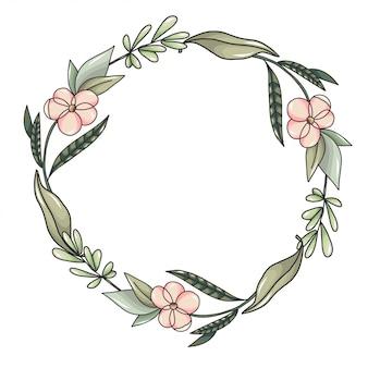 Guirnalda con flores rosas y hojas verdes.