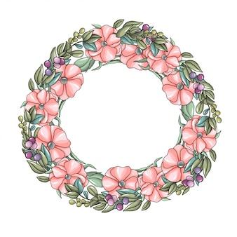 Guirnalda con flores rosas y ramas de eucalipto.