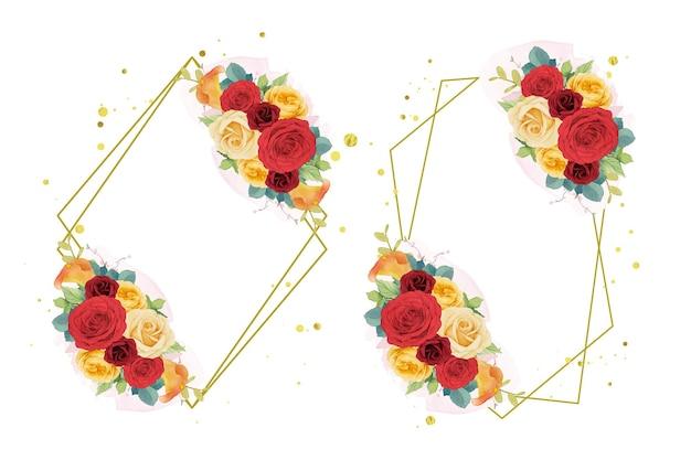 Guirnalda de flores rosas rojas