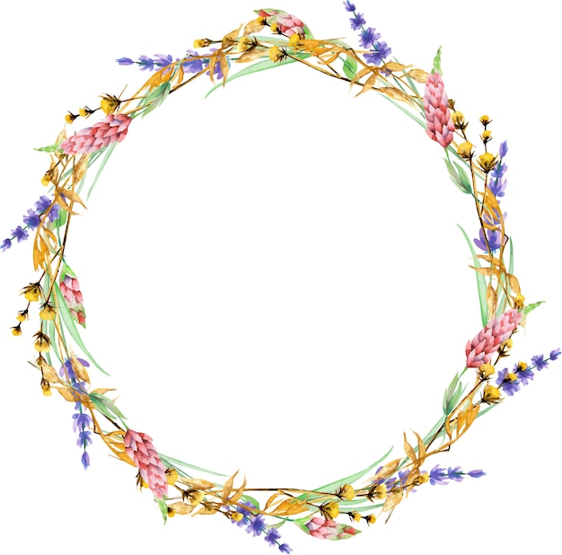 Guirnalda con flores silvestres amarillas secas de acuarela, flores de lupino y lavanda