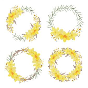 Guirnalda de flores tropicales amarillas acuarela