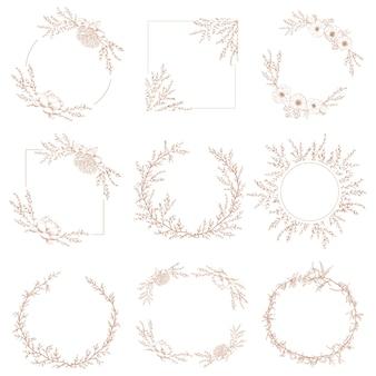 Guirnalda frontera decorativa botánica de marcos de flores y ramas.