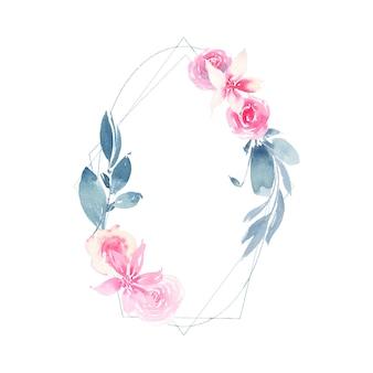 Guirnalda geométrica acuarela con flor rosa rosa y hojas de añil