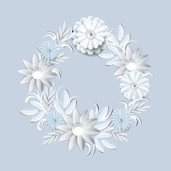 Guirnalda hermosa de las flores blancas aislada. elemento de decoración floral marco redondo