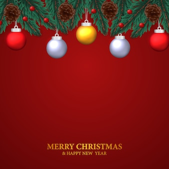 Guirnalda de hojas de abeto con piña, bola de adorno colgante para decoración navideña con fondo rojo.