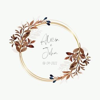 Guirnalda de hojas de acuarela con círculo dorado