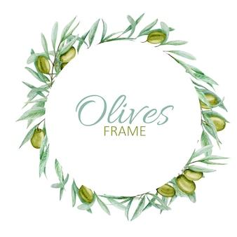 Guirnalda de hojas de rama de olivo verde