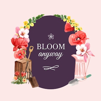 Guirnalda del jardín de flores con la ilustración de la acuarela de la flor de amapola, tulipán, aguileña.