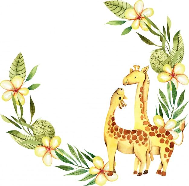 Guirnalda con lindas jirafas acuarelas.