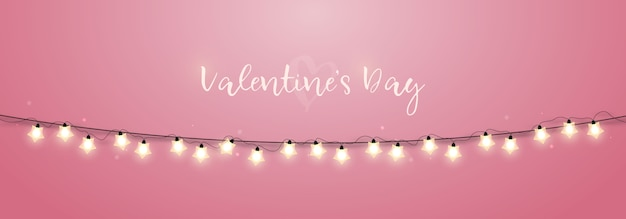 Guirnalda de luces brillantes festivas sobre fondo rosa.