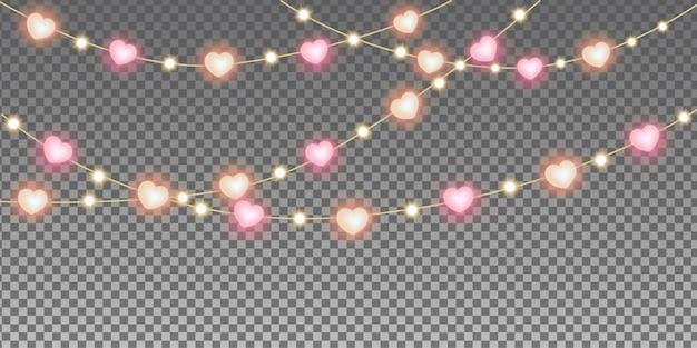 Guirnalda de luces de corazón de san valentín