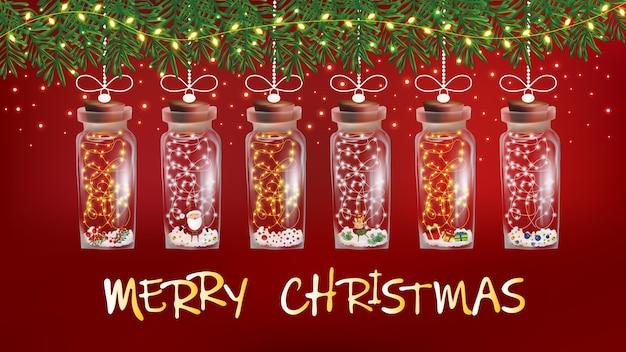 Guirnalda de luces de navidad mágica con destellos de copos de nieve y santa dentro de una botella de vidrio.