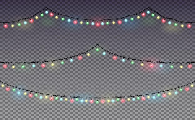 Guirnalda. luces de navidad. premium.