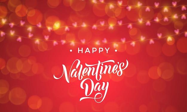 Guirnalda de luces de san valentín y patrón de corazones vectoriales para fondo de tarjeta roja premium