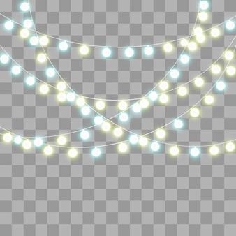 Guirnalda de luz aislada en el fondo.