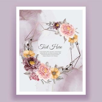 Guirnalda de marco floral acuarela de flor rosa púrpura naranja