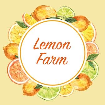 Guirnalda con marco de limón, ilustración creativa de color amarillo plantilla