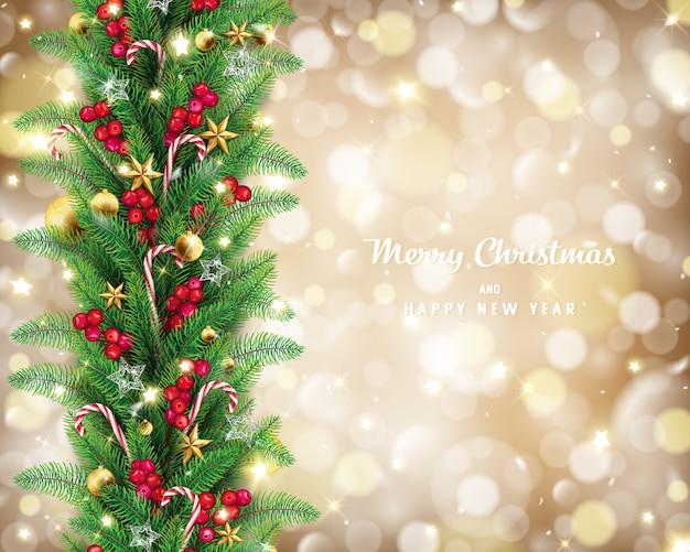 Guirnalda de navidad en concepto de fondo dorado bokeh.