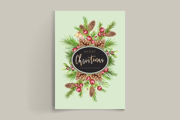 Guirnalda de navidad elegante acuarela con flor roja y adornos