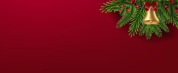 Guirnalda de navidad con fondo rojo de campana de navidad