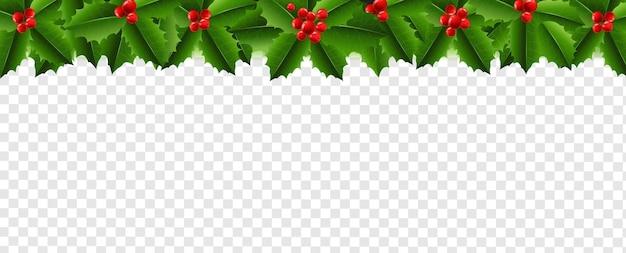 Guirnalda de navidad con holly berry fondo transparente con malla de degradado