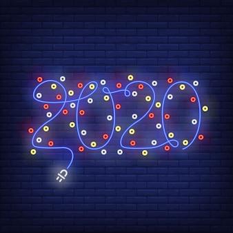 Guirnalda de navidad con letrero de neón de números