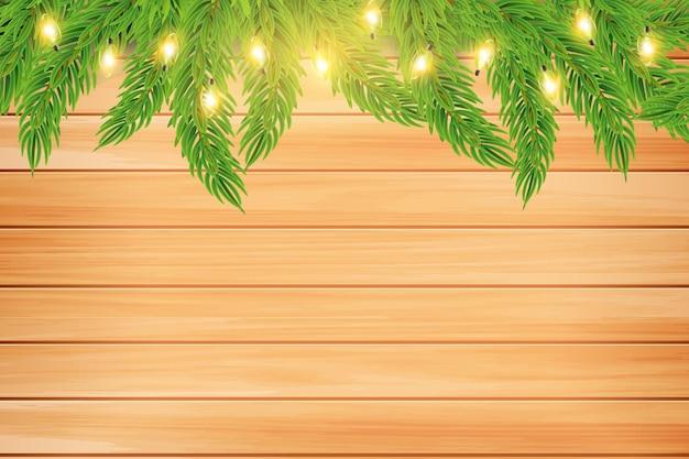 Guirnalda de navidad o año nuevo con ramas de abeto sobre fondo de madera marrón vector vacaciones de invierno