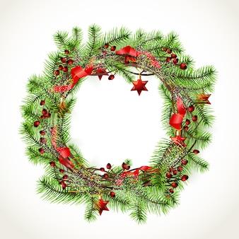 Guirnalda de navidad realista con adornos rojos