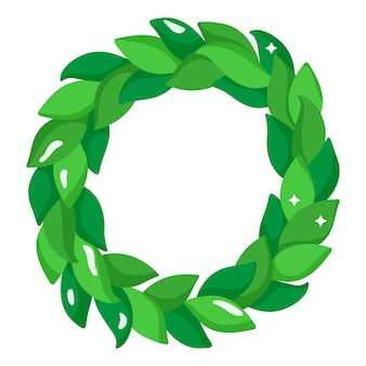 Guirnalda de navidad verde festiva de dibujos animados de navidad.