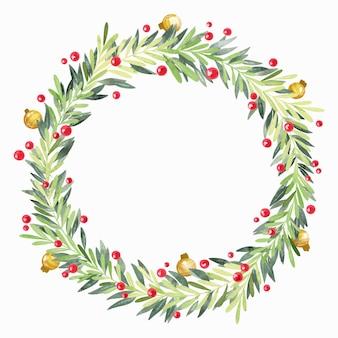 Guirnalda navideña de acuarela festiva con espacio vacío