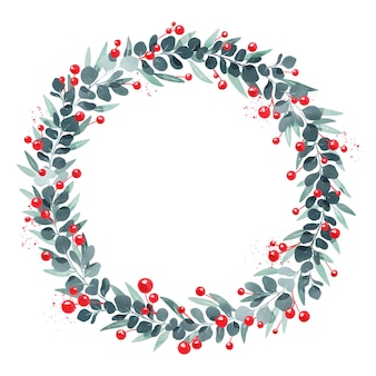 Guirnalda navideña de acuarela festiva