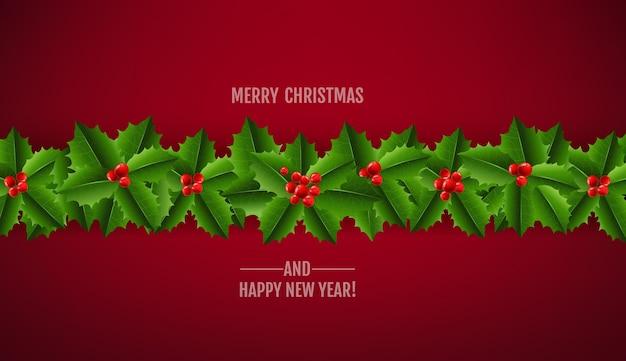 Guirnalda navideña de muérdago y bayas de acebo