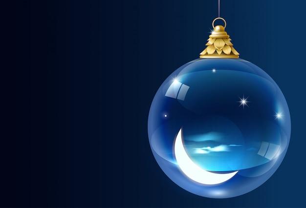 Guirnalda navideña de vidrio con luna creciente