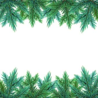 Una guirnalda realista y detallada de año nuevo hecha de ramas de pino para crear postales