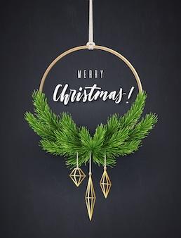 Guirnalda redonda de año nuevo con ramas de abeto. decoración interior moderna de navidad,