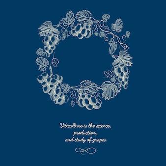 Guirnalda redonda natural decorativa sobre fondo azul