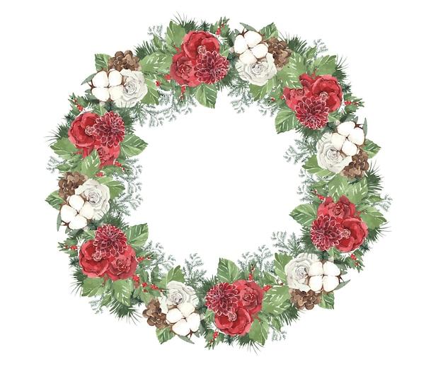 Guirnalda redonda de navidad de invierno acuarela con agujas de pino y flores rojas